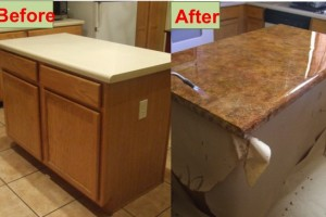DIY kitchen counter refinish laminate