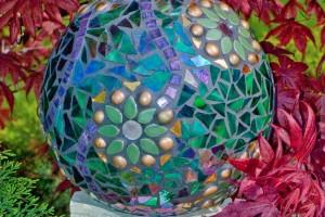 diy garden mosaic gazing ball