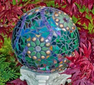 garden mosaic bowling ball