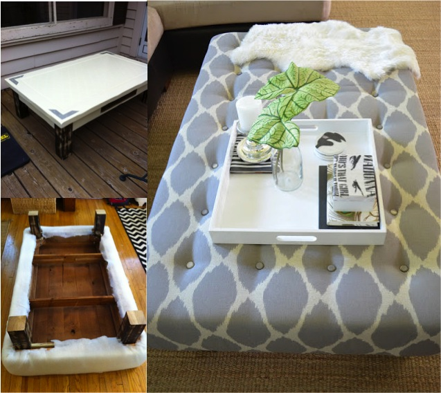 DIY Ottoman From Old Coffee Table Tutorial