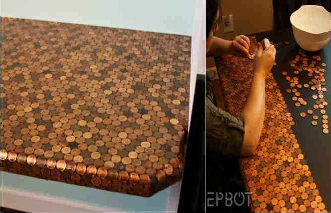 Diy Penny Tiled Table Or Desk Do It Yourself Fun Ideas
