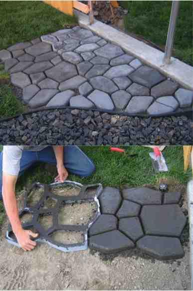 diy concrete coblestone path