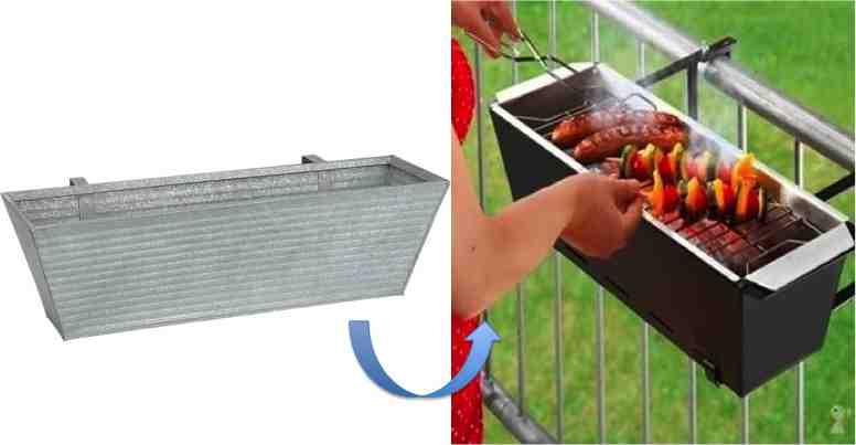 DIY Handrail Barbecue for Tiny Patios - Do-It-Yourself Fun Ideas