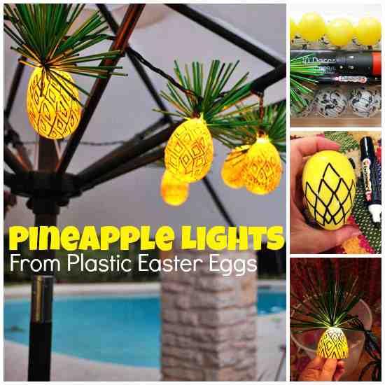 diy plastic egg pineapple string lights