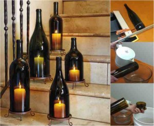 diy wine bottle hurricane candle lantern