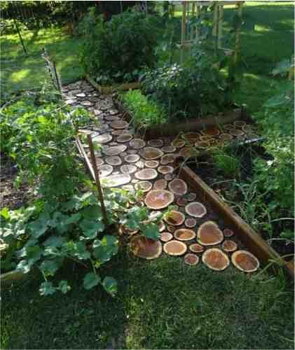 diy wood slice garden path