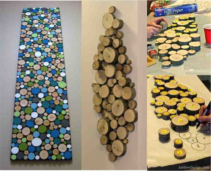 How to make wood slice wall art do it yourself fun ideas for How to make wall decoration