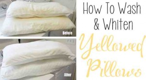 how to wash & whiten yellowed pillows