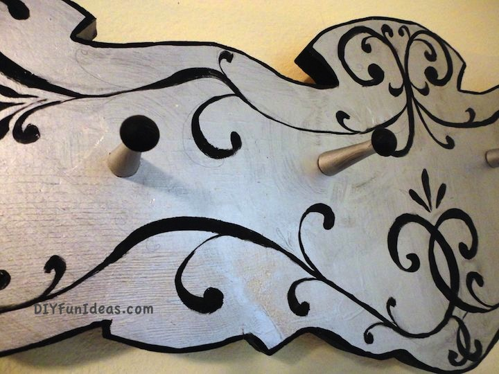 upcycled diy jewelry hanger from old coat rack