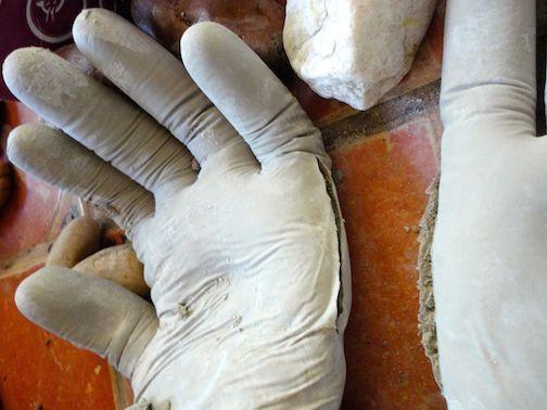 diy concrete hand planters 10