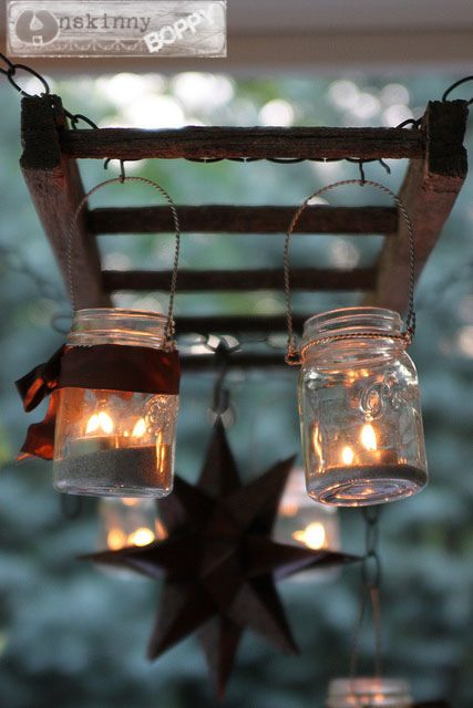 diy pottery barn hanging lantern ladder 3