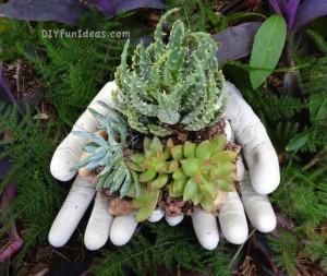 diy concrete hand planter