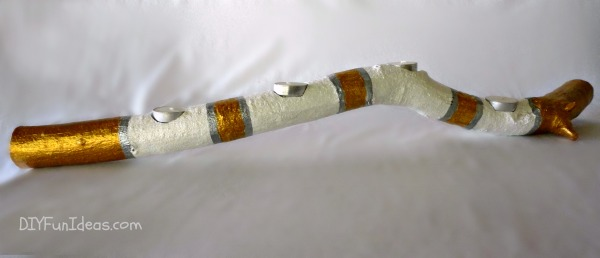 HAND PAINTED NATURAL WOOD BRANCH CANDLE HOLDERS