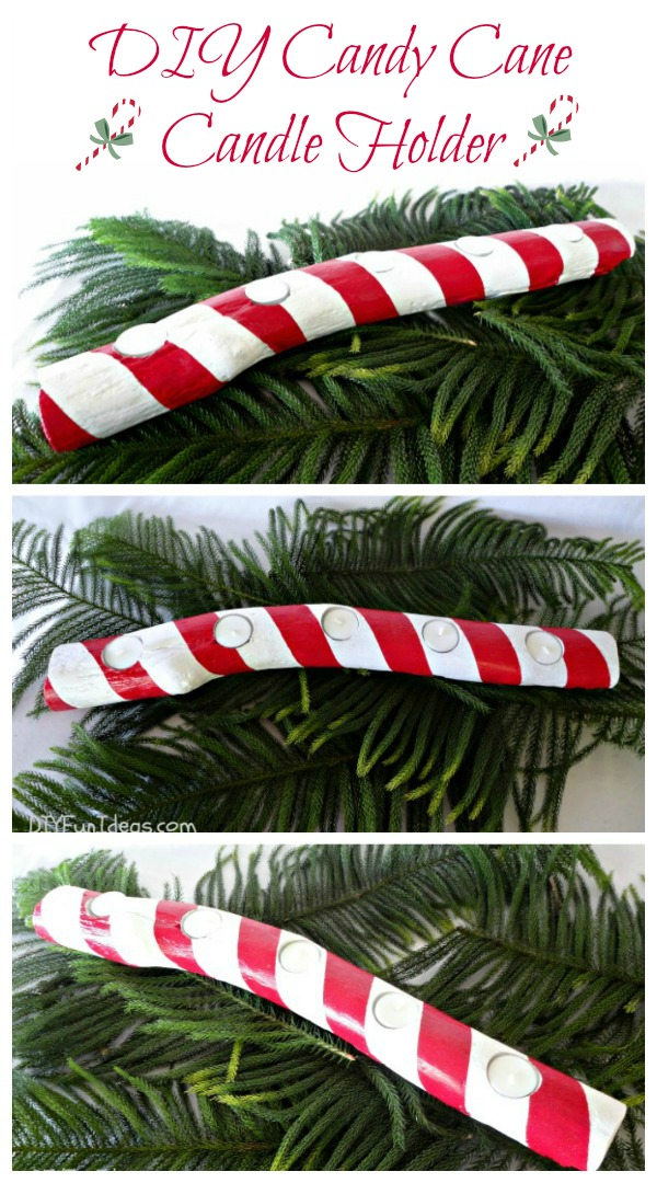 DIY HAND PAINTED NATURAL WOOD BRANCH CANDY CANE CANDLE HOLDER