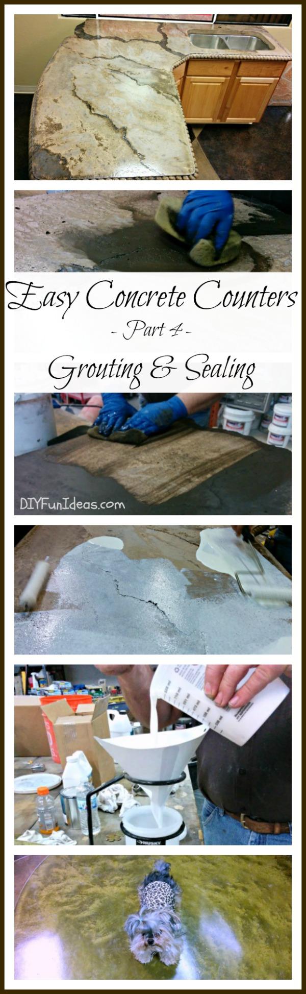 EASY DIY CONCRETE COUNTERTOP TUTORIAL - Part 4 Grouting & Sealing