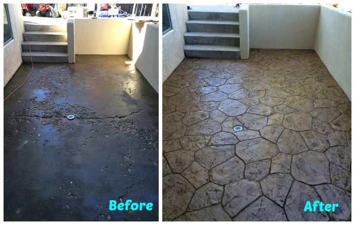 DIY CONCRETE TILE TUTORIAL: GET THE LOOK OF STAMPED CONCRETE FOR WAY LESS $$
