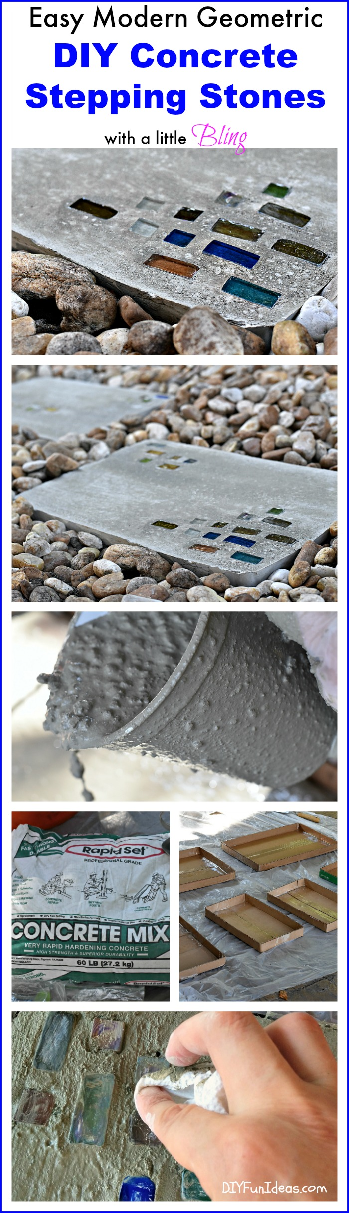 EASY DIY MODERN CONCRETE STEPPING STONES with a little BLING!