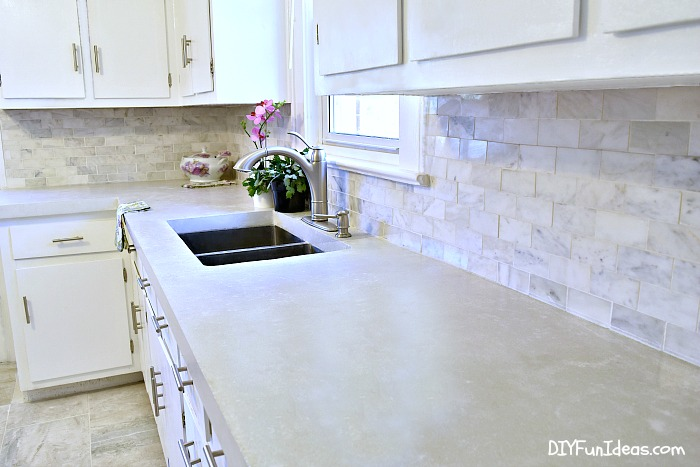 Gorgeous Budget Kitchen Makeover With White Concrete